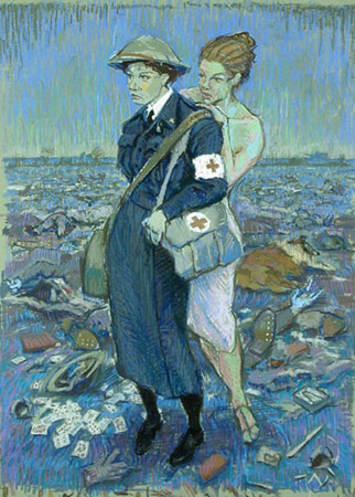 "Nurse with Muse,   giclée print of original pastel on paper, 25"" x 19½"",   $300"