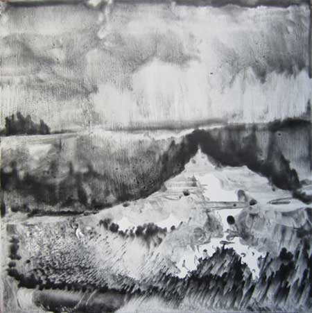 "Landscape #2,   graphite encaustic on gesso on wood panel, 14"" x 14"""