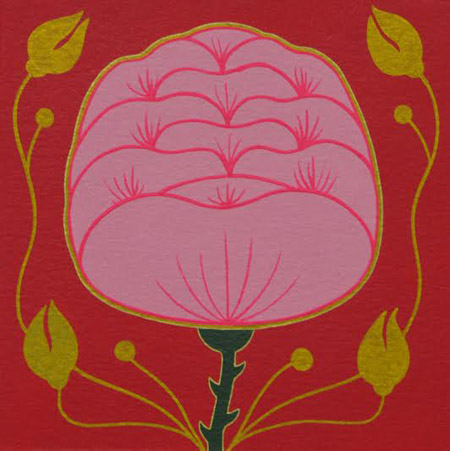 "Botanical Study #13,   gouache and ink on paper, mounted on wood, 6"" x 6"""