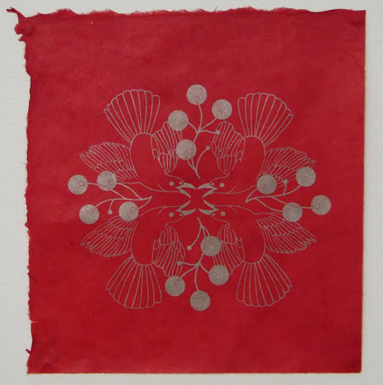 "Bird Spray #3,  photolithograph on handmade paper, 13"" x 13"" framed,  $250"