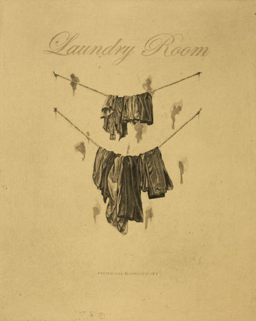 "Laundry Room (Informal Domesticity),   hardground etching, aquatint, drypoint, 12"" x 14"",   $225"