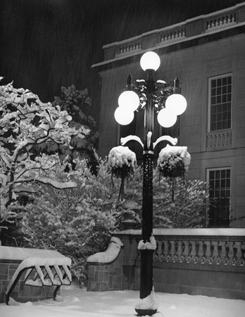 "Winter Night,  Arlington Town Hall, photograph, 14"" x 11"", $75"