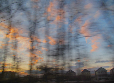 "Train View 1, between NY and Baltimore,   archival photograph on washi paper, 16"" x 20"""