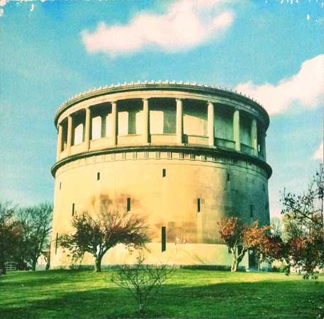 "Arlington Watertower,   phototransfer on wood,   10"" x 10"", $250,   3½"" x 3½"", $45"