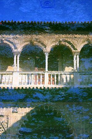 """Alcazar Pool, Seville, Spain,  archival toner print, 18"""" x 12"""",  $90"""