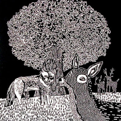 "Deer and Wolf , Coco Berkman, linocut, 28¾"" x 24"" framed, $350"