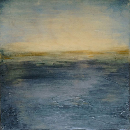 "Shimmer , Linda Cordner, encaustic and oil on board, 13"" x 13"" framed, $600"