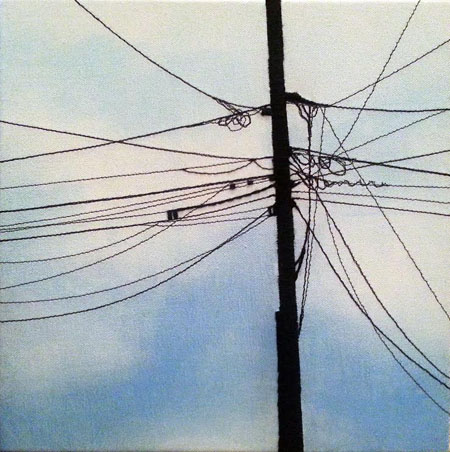 "Entangled 2 of 2 , Grace Durnford, acrylic, stitching, embroidery floss, 11½"" x 11½"" framed, $325"
