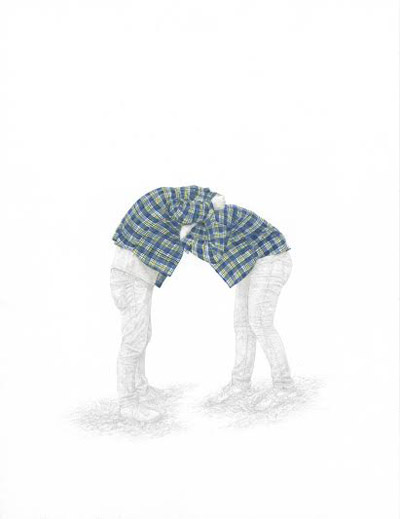 "Plaid Shirt #2 , Andrea Sherrill Evans, silverpoint and watercolor on paper, 14"" x 11"", $850"