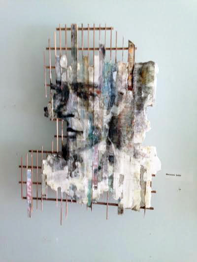 "Memoire , Robert Maloney, wood, plaster, glue, acrylic and digital print, 17½"" x 12"" x 2½"", sold"