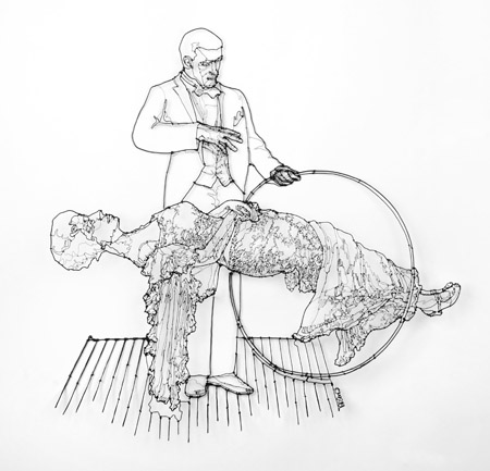 "Performing a Levitation Illusion , painted steel wire, 25½"" x 25"" x 2"", $2,000"