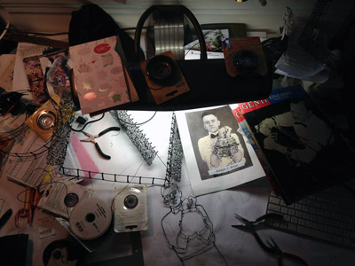 In progress: artist's worktable