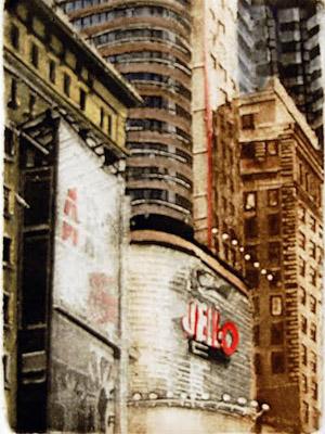 "Jello (10/100), collagraph with silk aquatint, 11"" x 9"", $175"