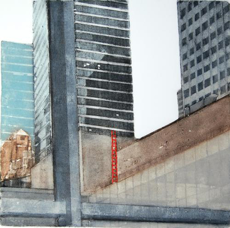 "Inside/Outside - MoMA with Red Ladder (8/100) , collagraph with silk aquatint, 21"" x 20¼"" framed, $450"