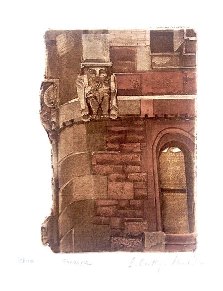 "Gargoyle (8/100), collagraph with silk aquatint, 10"" x 9"", $175"