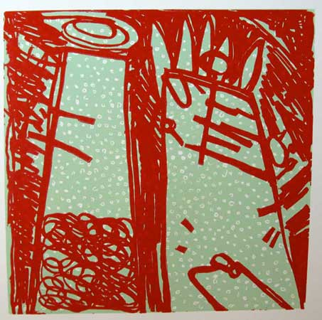 "The Grownups,   reduction linoleum print on paper, 30"" x 22"" framed,   $400"