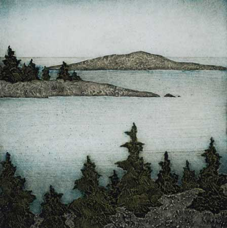 "Little Harbor,  collagraph on paper, 11½"" x 11"""