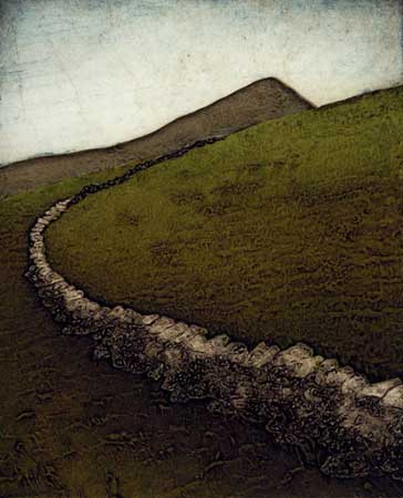 "Stone Walls IV (14/20),  collagraph on paper, 12"" x 11"", sold out"