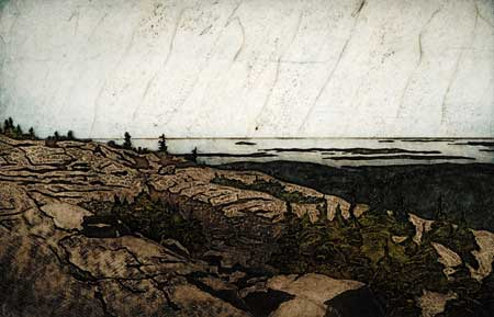 "On Cadillac Mountain (19/30),  collagraph on paper, 16½"" x 22"", $400"