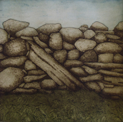 "Drystone Detail (7/30),  collagraph on paper, 23¼"" x 22"", $525"