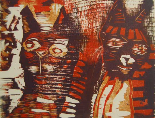 "Dos Gatos,   woodcut on paper, 15¼"" x 17¼"" framed   $275"
