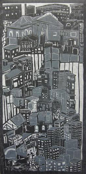 "Two Cities,   woodcut, 59"" x 35"" framed   $2,500"