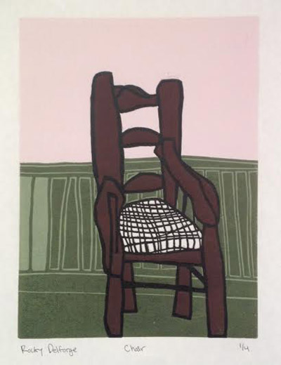 "Chair Edition #1 (2/4),   woodcut, 15"" x 12""   $250"