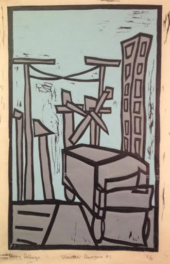 "Gloucester Downtown #1 (3/6),   woodcut on kozo paper, 16"" x 12""   $275"