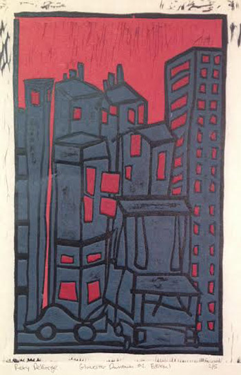 "Gloucester Downtown #2, 3rd Edition (3/6),   woodcut on kozo paper, 18"" x 12""   $275"