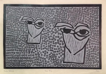 "Role Play,   woodcut on kozo paper, 14"" x 20""   $350"