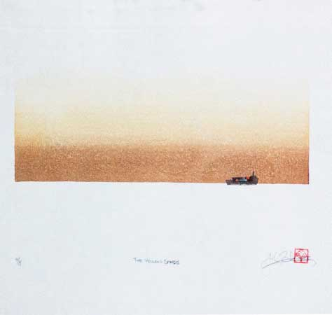 """Yellow Sands,  woodblock print on washi paper, 14¾"""" x 16¾"""""""