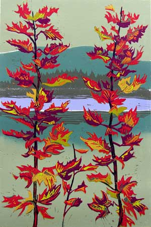 "Passage Through the Season's Fluttering Fire,   reduction linoleum print on paper,   25 1/4"" x 18 1/4"" framed, $725"
