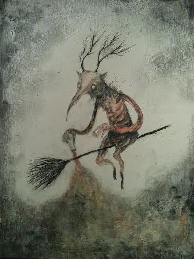 "A skyborne pox is laid for the malicious of heart,   pencil, graphite, ink, watercolor, acrylic, pastel on wood, 8"" x 6"", sold"