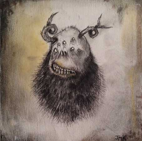 "The Cruelty of Olde Gods,   acrylic, ink, charcoal, pastel, graphite on wood, 5"" x 5"""