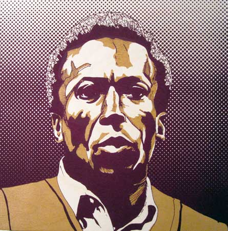 "Miles,   screenprint with wood stain and acrylic ink on birch panel, 12"" x 12""   $150"