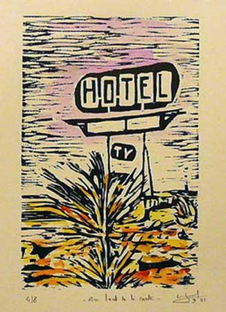 """Au bout de la route (3/8),  woodcut, watercolor, 14"""" x 11"""" framed"""