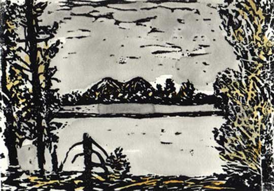 "Entre les arbres (7/10),  linocut, watercolor, 10&frac; x 13"" framed  $150"