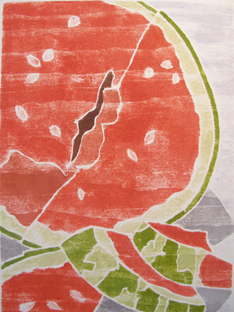 "Summer Slices,  white line woodcut, 12 1/4"" x 10"" matted, $100"
