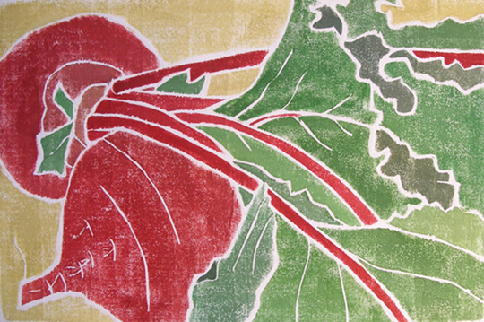 "Beets and Greens,   white line woodcut monoprint, 11"" x 13 ¾ "" framed, $175"
