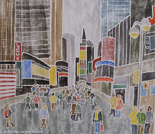 "Times Square, NYC,   white line woodcut monoprint, 15"" x 15 ¾ ""   matted, $250"