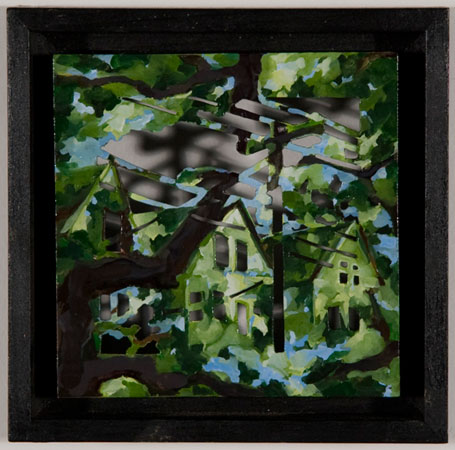 "Small Revelations - four,   oil on hardboard, cut to silhouette, 7½"" x 7½"" framed , sold"