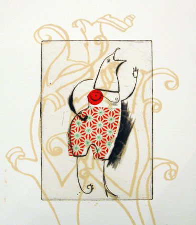 "Untitled 5 (Bird Head),   etching, drypoint, chine-collé on Hannamuhle paper, 11"" x 7½""   $175"