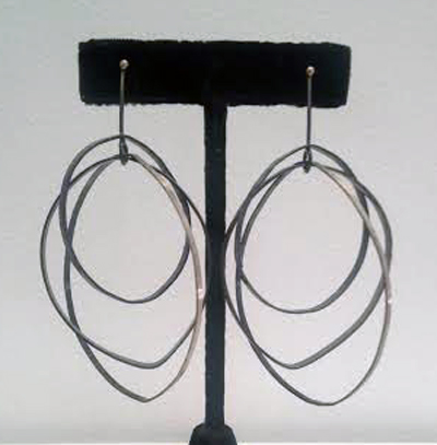 Dotted hoops,   sterling silver,   $265