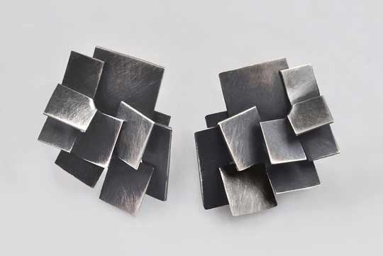 Braque earrings,   oxidized sterling silver,   $295