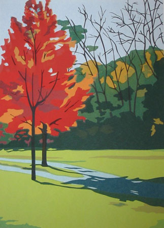 "Small Red Tree,   serigraph, 24½"" x 19""   $450 framed"