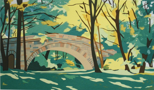"Stone Footbridge,   serigraph, 19"" x 26""   $450 framed, $290 unframed"