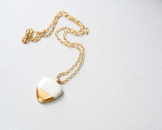 Biomorphic Pebble Necklace,   porcelain, 22k gold, shiny brass chain,   $150