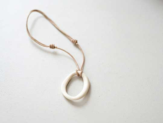 Biomorphic Calamari Necklace,   porcelain, waxed cotton cord,   $65