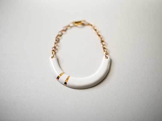 Crescent Necklace,   porcelain, 22k gold, 14k gold fill chain,   $285
