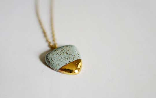 Speckled Pebble Necklace,   speckled stoneware, 22k gold, 14k gold-filled chain, available in solid white, navy and slate,   $165